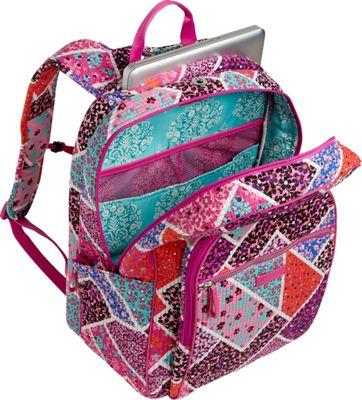 Vera Bradley Iconic Deluxe Campus Backpack Falling Flowers - Vera Bradley School & Day Hiking Backpacks