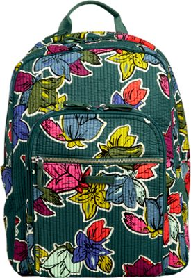 Vera Bradley Iconic Deluxe Campus Backpack Falling Flowers - Vera Bradley School & Day Hiking Backpacks