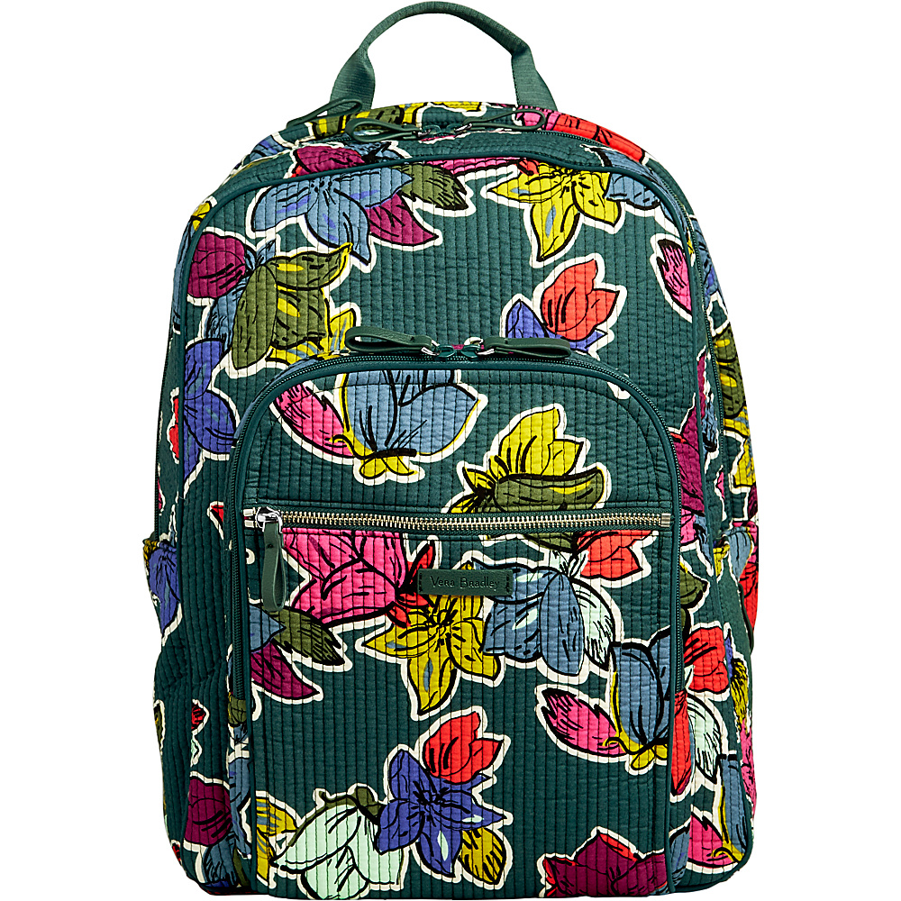 Vera Bradley Iconic Deluxe Campus Backpack Falling Flowers - Vera Bradley School & Day Hiking Backpacks - Backpacks, School & Day Hiking Backpacks
