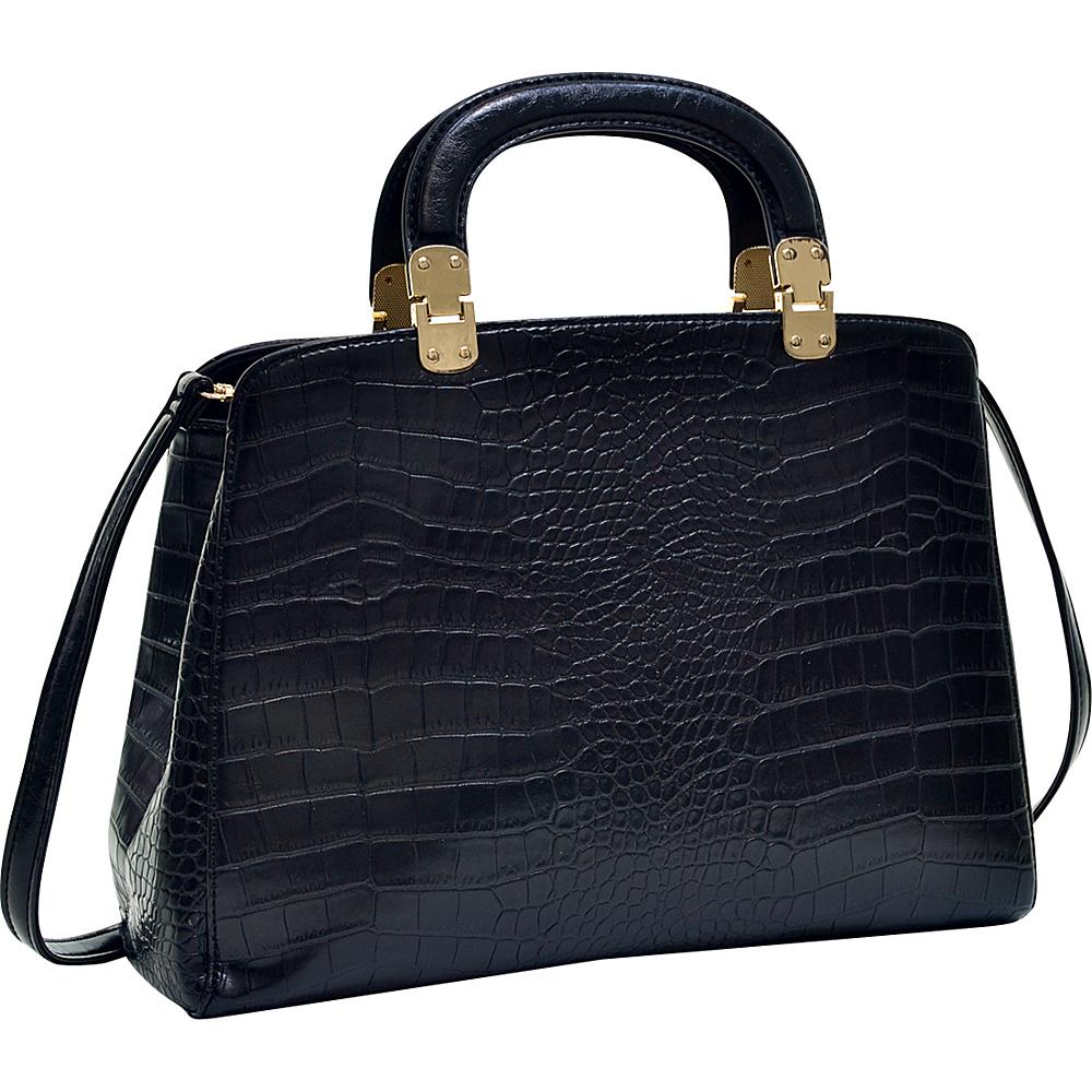Dasein Faux Croc Hinge Handle Briefcase Satchel with Removable Shoulder Strap Black - Dasein Manmade Handbags - Handbags, Manmade Handbags
