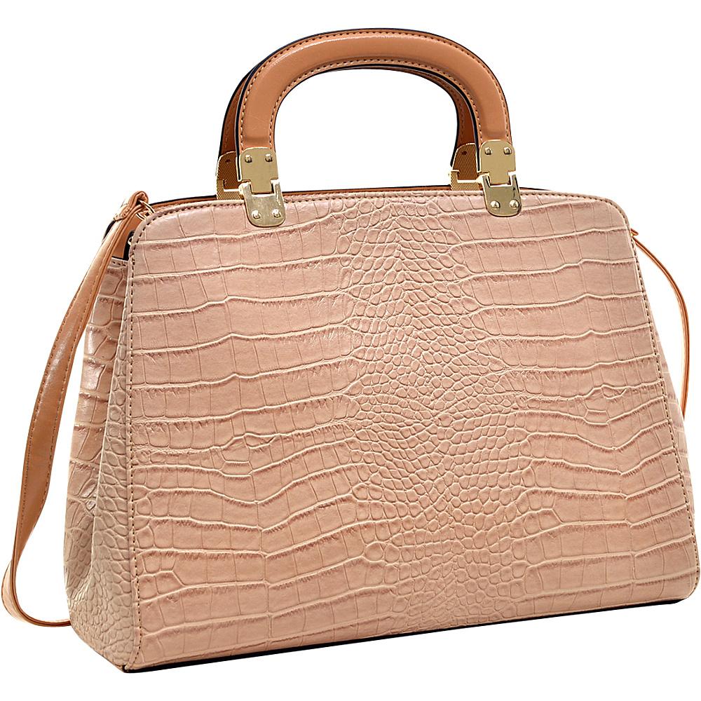 Dasein Faux Croc Hinge Handle Briefcase Satchel with Removable Shoulder Strap Beige - Dasein Manmade Handbags - Handbags, Manmade Handbags
