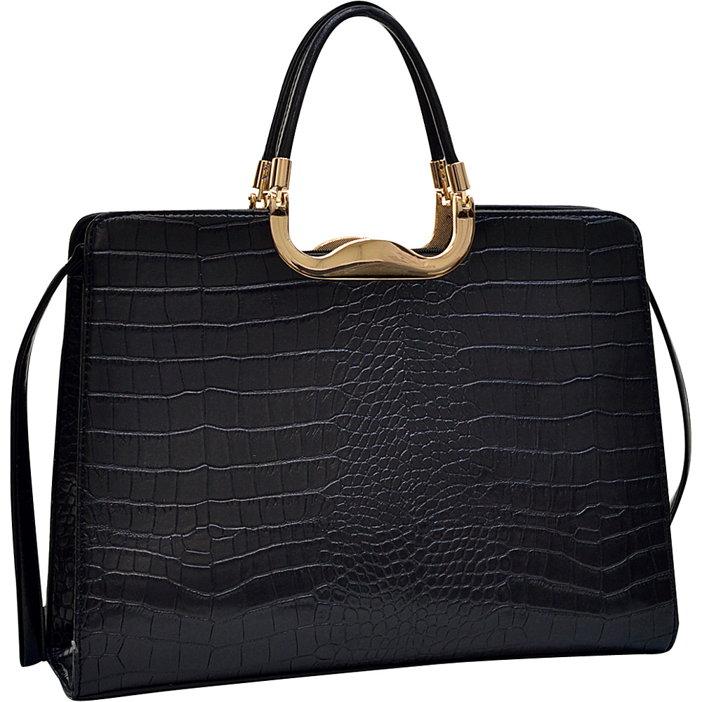 Dasein Rolled Handle Faux Croc Briefcase with Removable Shoulder Strap Black - Dasein Gym Bags - Sports, Gym Bags