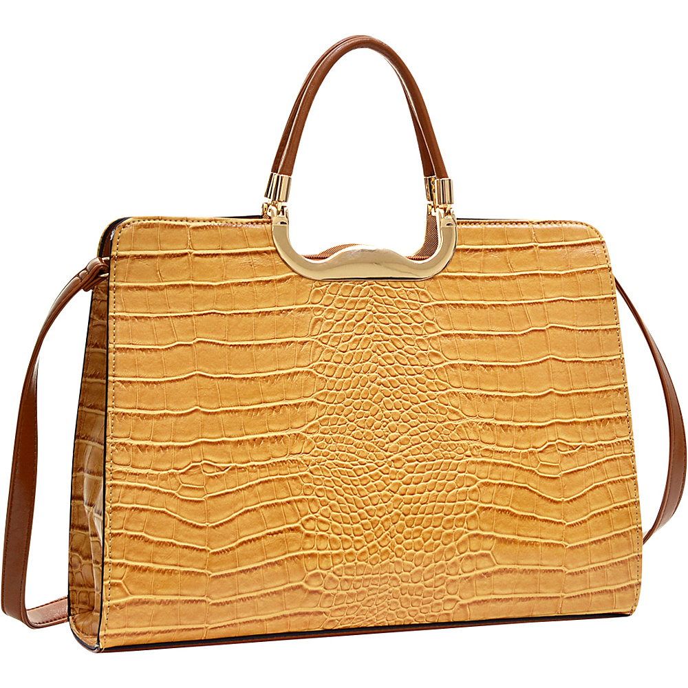 Dasein Rolled Handle Faux Croc Briefcase with Removable Shoulder Strap Tan - Dasein Gym Bags - Sports, Gym Bags