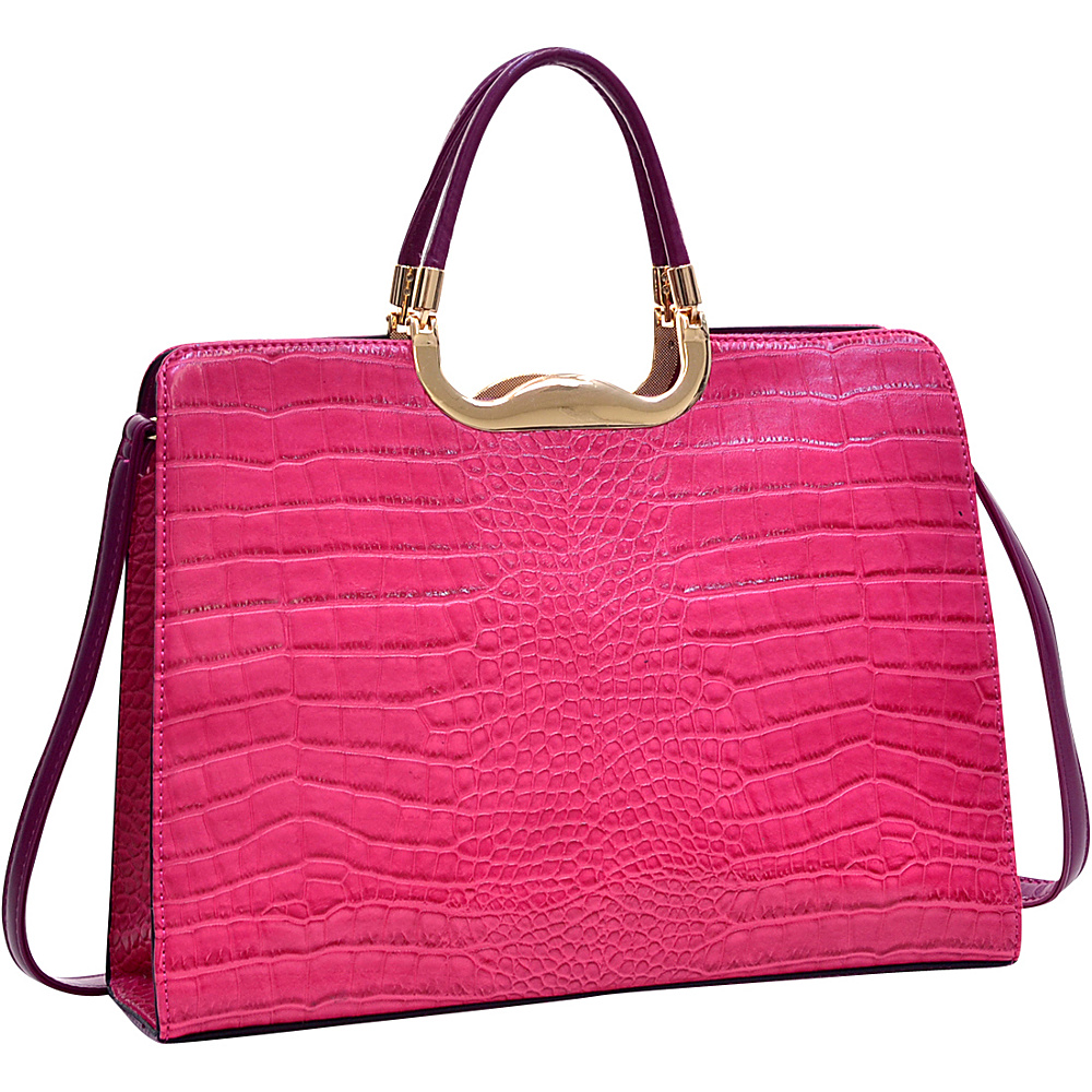 Dasein Rolled Handle Faux Croc Briefcase with Removable Shoulder Strap Fuchsia - Dasein Gym Bags - Sports, Gym Bags