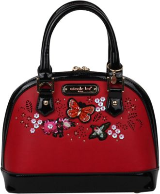 Nicole Lee Visola Butterfly Embroidered Mini Dome Shoulder Bag Red - Nicole Lee Manmade Handbags 10583052
