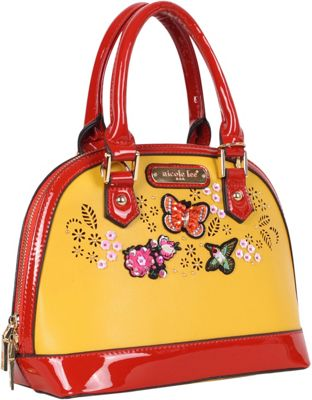 Nicole Lee Visola Butterfly Embroidered Mini Dome Shoulder Bag Red - Nicole Lee Manmade Handbags