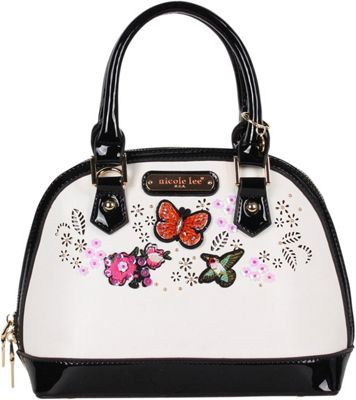 Nicole Lee Visola Butterfly Embroidered Mini Dome Shoulder Bag White - Nicole Lee Manmade Handbags