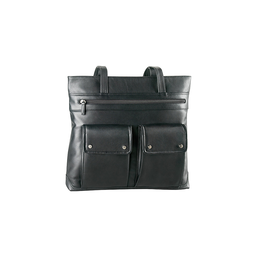 Derek Alexander Multi Zip Tote Black - Derek Alexander Leather Handbags - Handbags, Leather Handbags