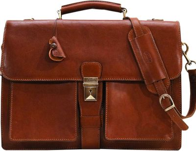 Floto Novella Two Gusset Briefcase Saddle Brown - Floto Non-Wheeled Business Cases