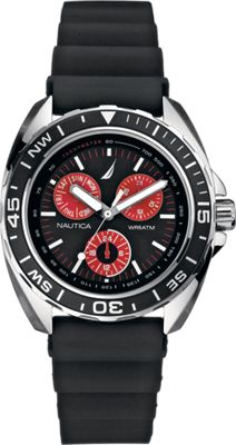 Nautica Watches Mens Sport Ring Multifunction Watch Black/Red - Nautica Watches Watches