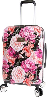 BEBE Marie 21 inch Hardside Spinner Carry-On Luggage Black Floral Print - BEBE Hardside Carry-On