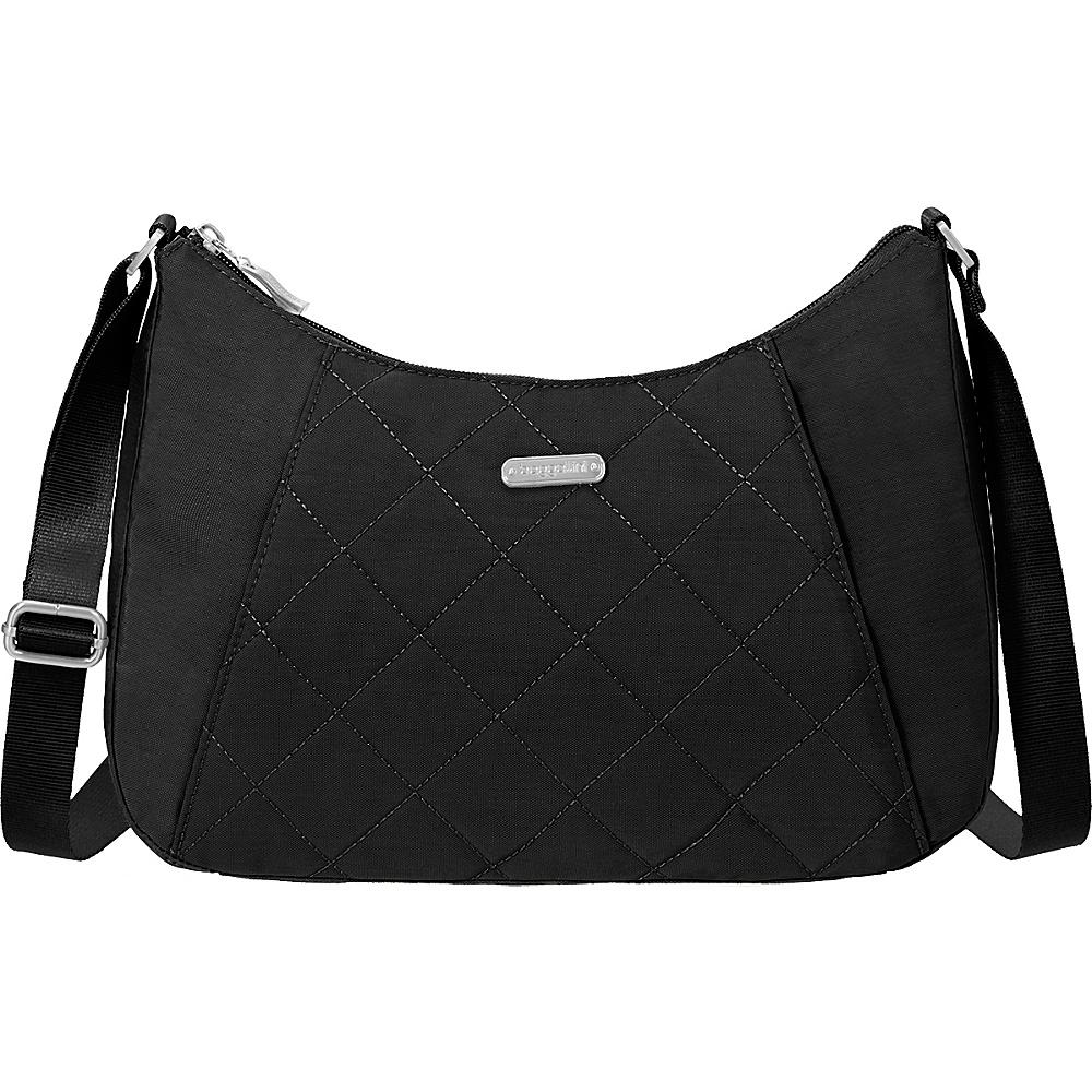 baggallini Quilted Slim Crossbody Hobo with RFID Black Quilt - baggallini Fabric Handbags - Handbags, Fabric Handbags