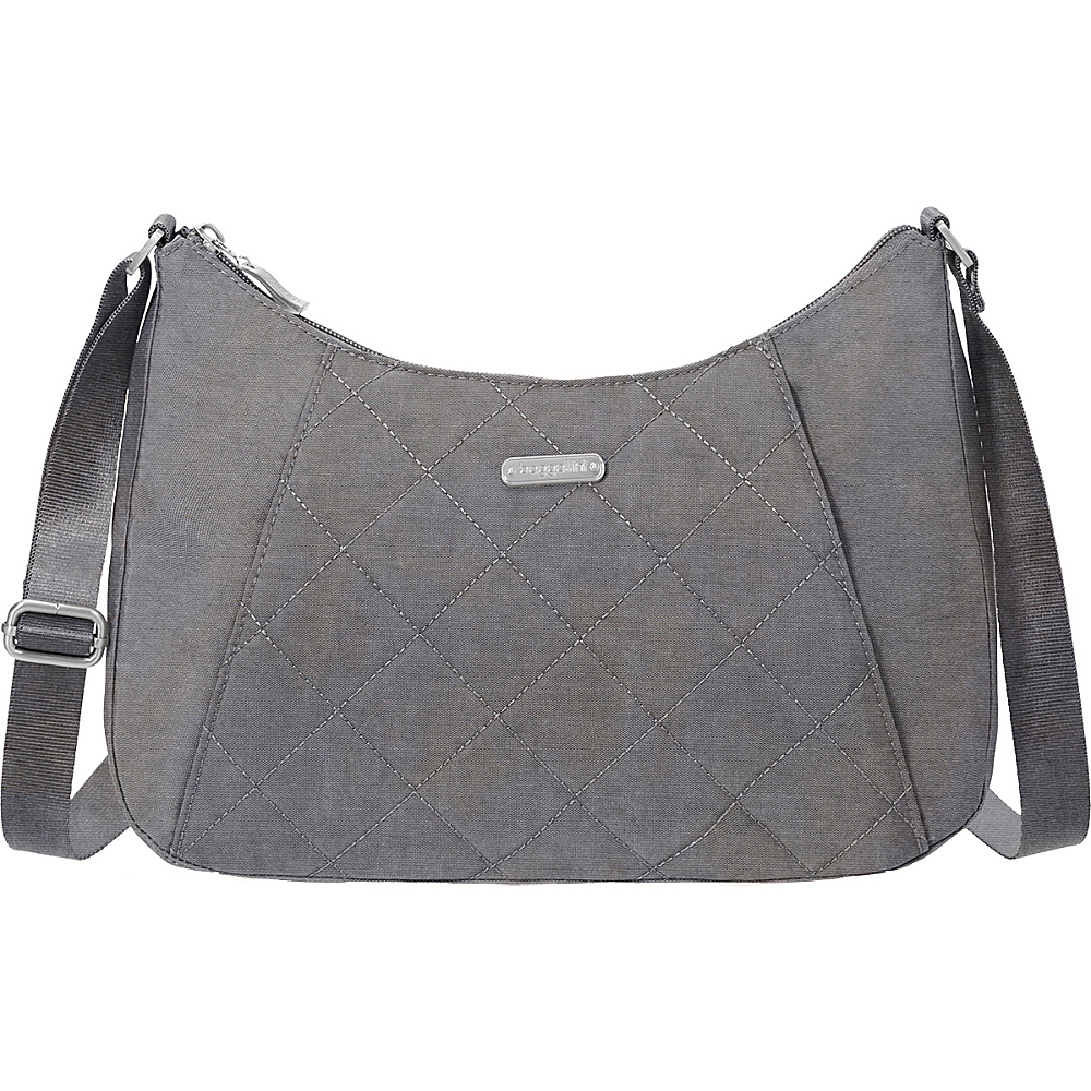 baggallini Quilted Slim Crossbody Hobo with RFID Pewter Quilt - baggallini Fabric Handbags - Handbags, Fabric Handbags