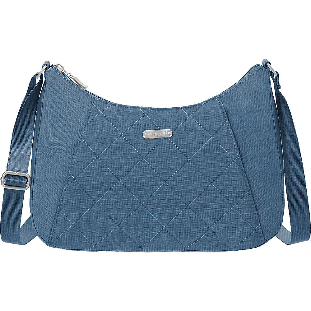 baggallini Quilted Slim Crossbody Hobo with RFID Slate Quilt - baggallini Fabric Handbags - Handbags, Fabric Handbags