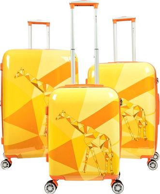 Gabbiano Safari 3 Piece Expandable Hardside Spinner Luggage Set Giraffe - Gabbiano Luggage Sets
