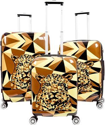 Gabbiano Safari 3 Piece Expandable Hardside Spinner Luggage Set Leopard - Gabbiano Luggage Sets
