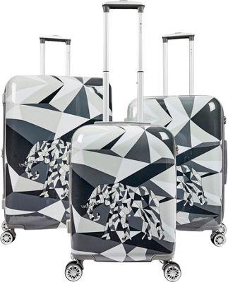 Gabbiano Safari 3 Piece Expandable Hardside Spinner Luggage Set Elephant - Gabbiano Luggage Sets