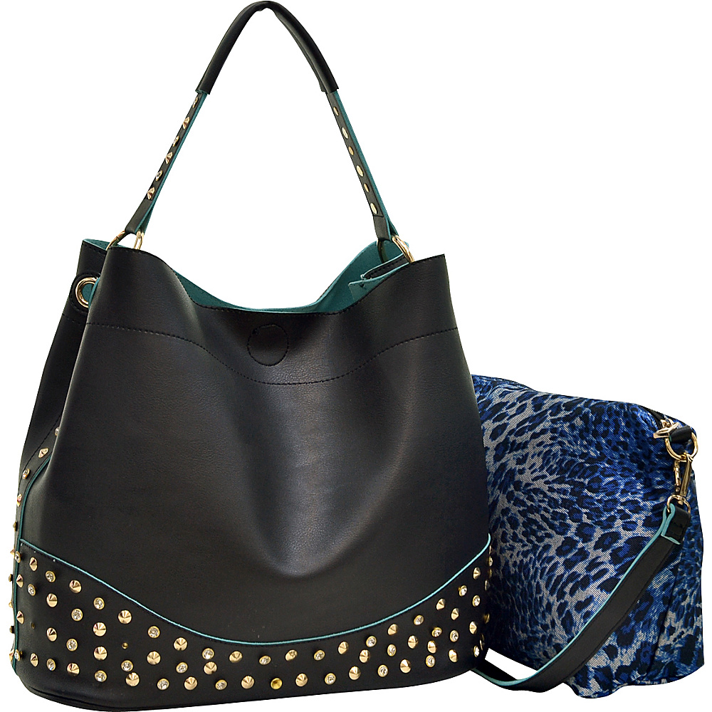 Dasein Faux Leather Studded 2-in-1 Hobo Black - Dasein Manmade Handbags - Handbags, Manmade Handbags