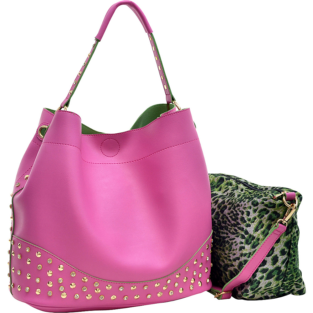 Dasein Faux Leather Studded 2-in-1 Hobo Pink - Dasein Manmade Handbags - Handbags, Manmade Handbags