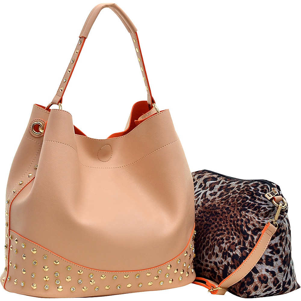Dasein Faux Leather Studded 2-in-1 Hobo Coral - Dasein Manmade Handbags - Handbags, Manmade Handbags
