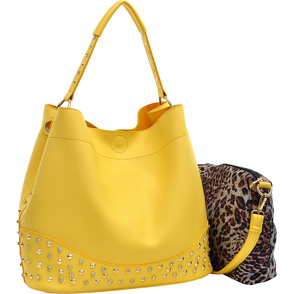 Dasein Faux Leather Studded 2-in-1 Hobo Yellow - Dasein Manmade Handbags - Handbags, Manmade Handbags
