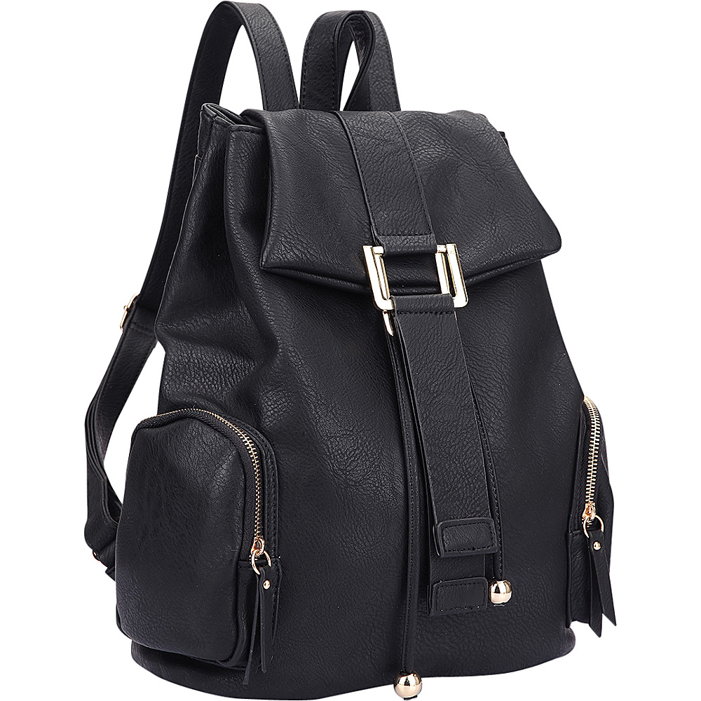 Dasein Drawstring Accent Backpack with Side Pockets Black - Dasein Leather Handbags - Handbags, Leather Handbags