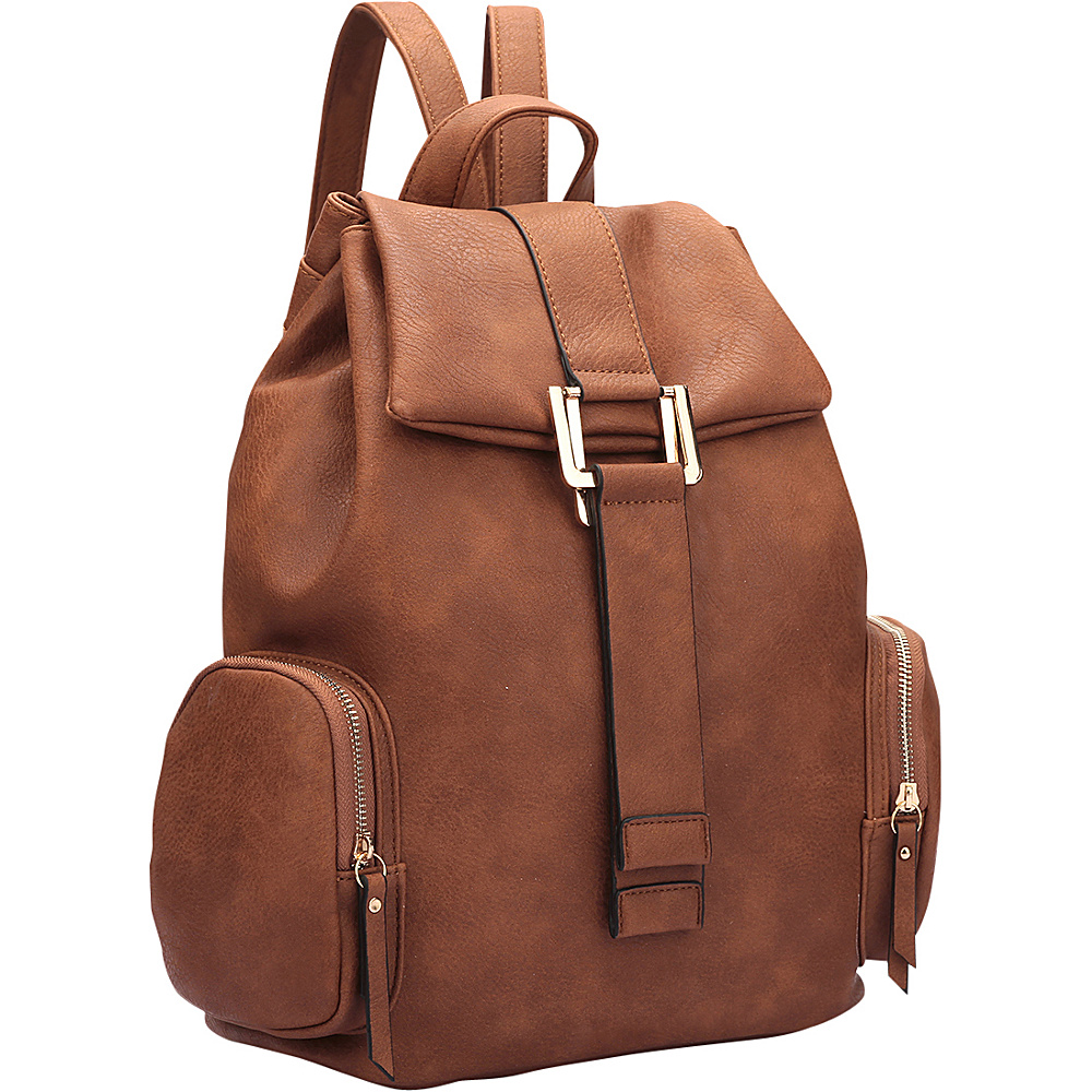 Dasein Drawstring Accent Backpack with Side Pockets Coffee - Dasein Leather Handbags - Handbags, Leather Handbags
