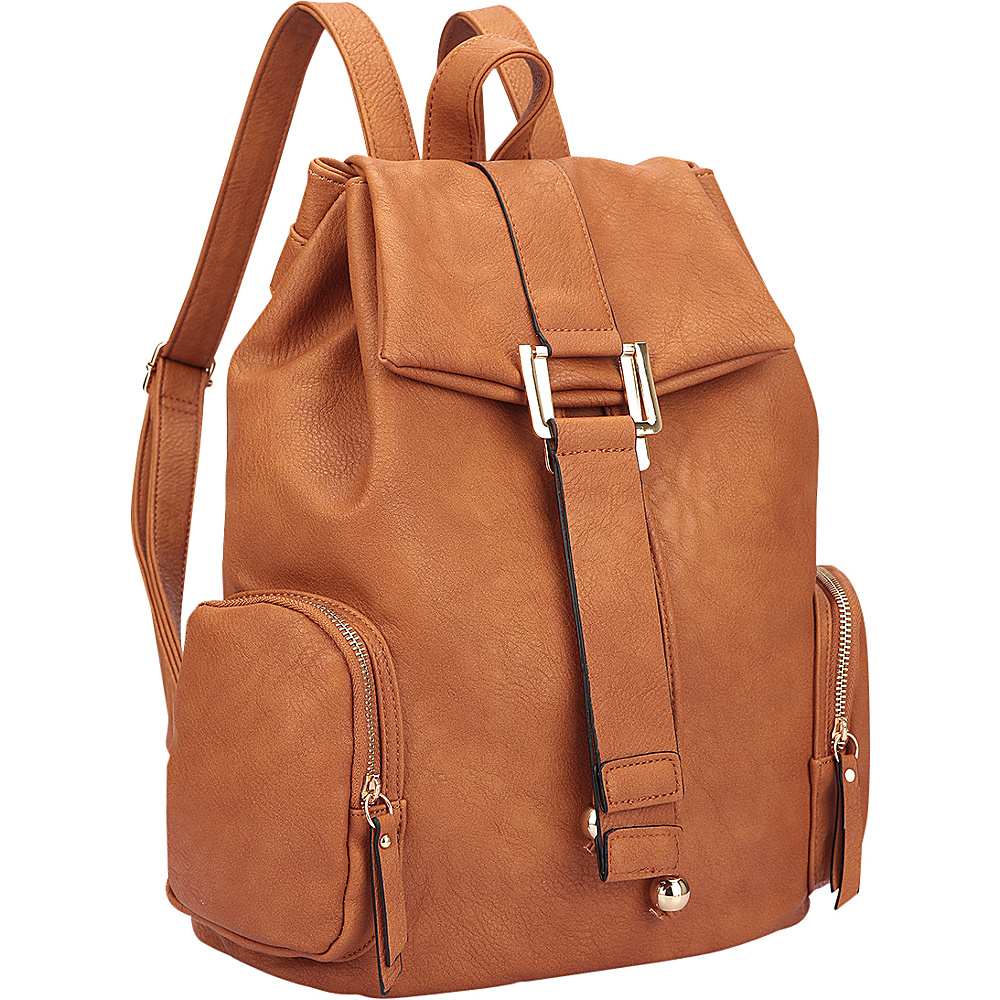 Dasein Drawstring Accent Backpack with Side Pockets Brown - Dasein Leather Handbags - Handbags, Leather Handbags