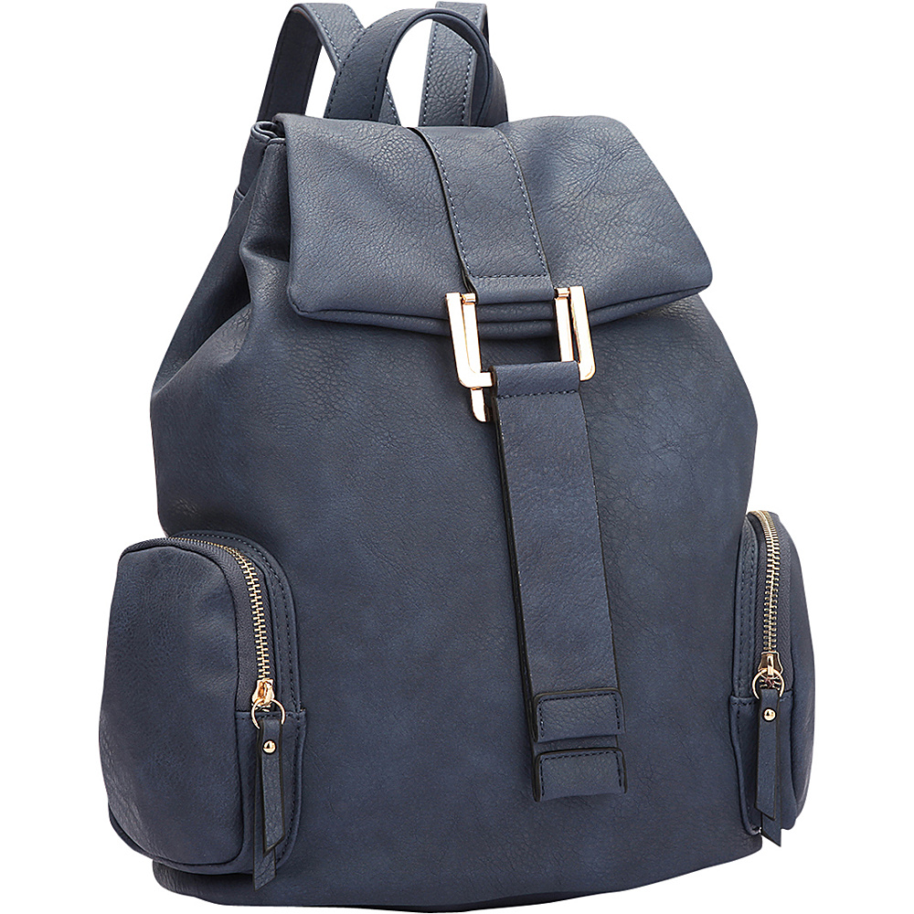 Dasein Drawstring Accent Backpack with Side Pockets Navy Blue - Dasein Leather Handbags - Handbags, Leather Handbags