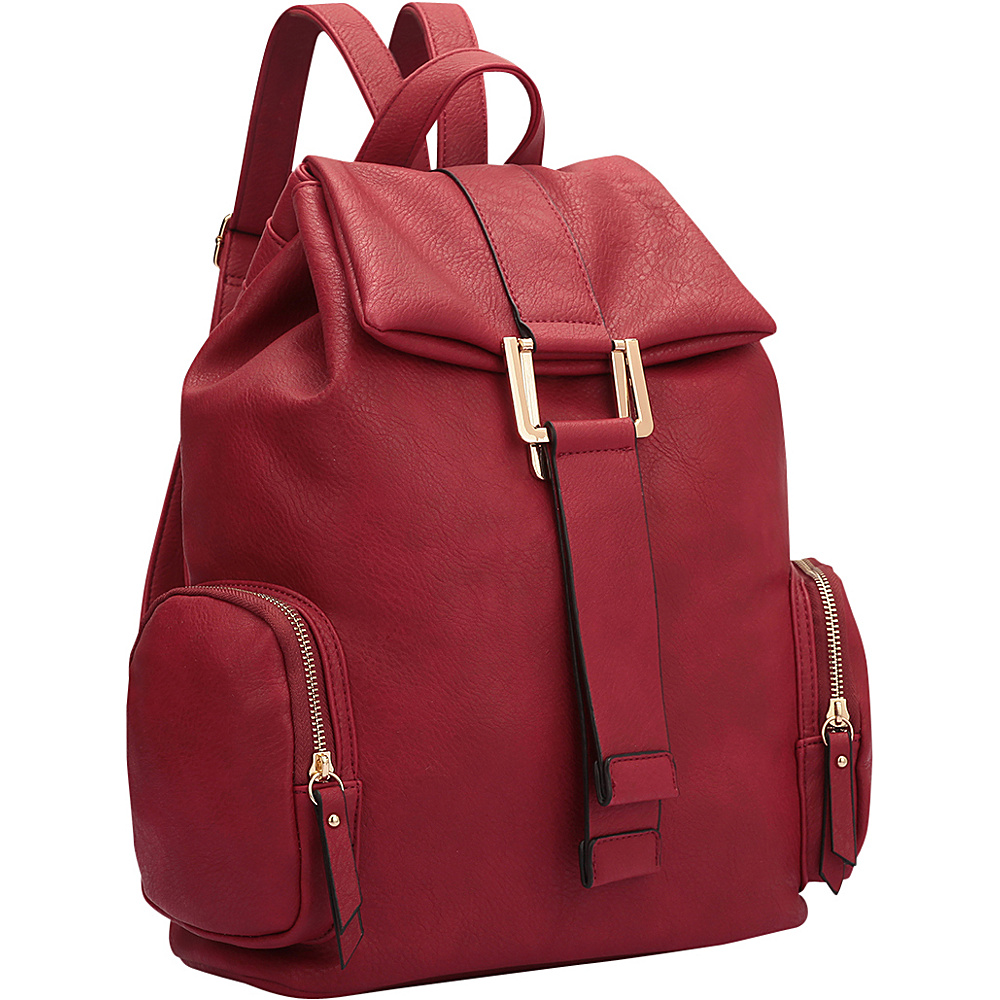 Dasein Drawstring Accent Backpack with Side Pockets Red - Dasein Leather Handbags - Handbags, Leather Handbags
