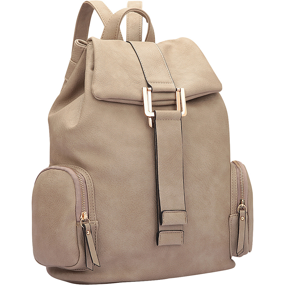 Dasein Drawstring Accent Backpack with Side Pockets Stone - Dasein Leather Handbags - Handbags, Leather Handbags