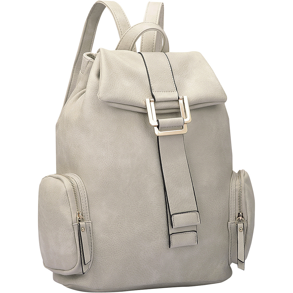 Dasein Drawstring Accent Backpack with Side Pockets Light Gray - Dasein Leather Handbags - Handbags, Leather Handbags