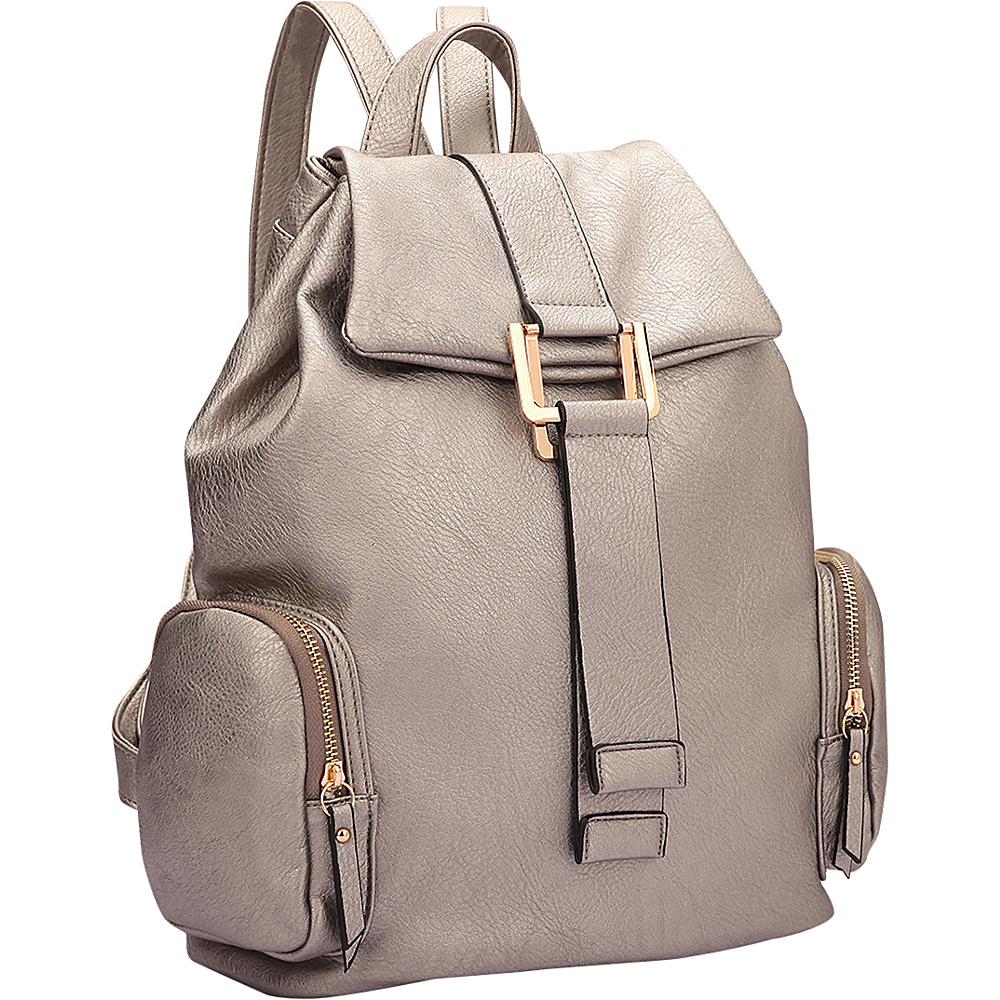 Dasein Drawstring Accent Backpack with Side Pockets Pewter - Dasein Leather Handbags - Handbags, Leather Handbags