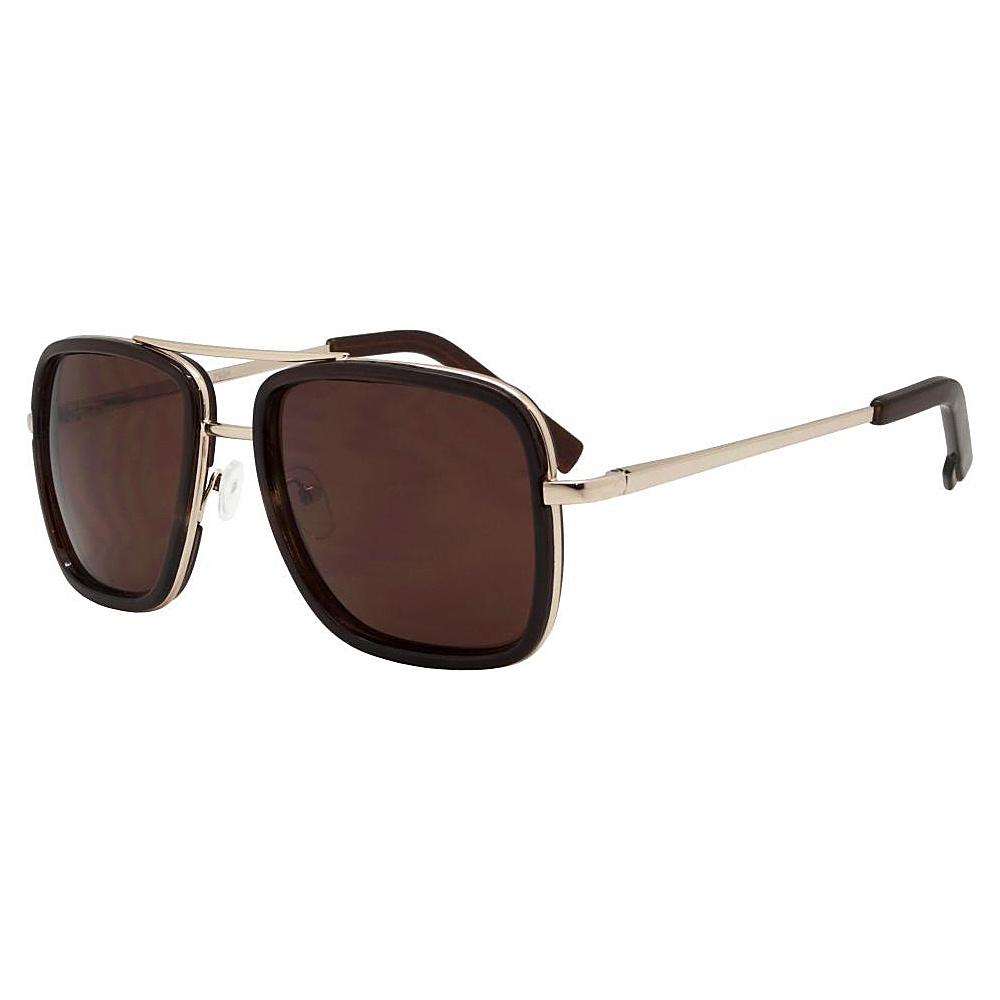 SW Global Rectangular Double Frame Retro Aviator UV400 Sunglasses Brown - SW Global Eyewear - Fashion Accessories, Eyewear