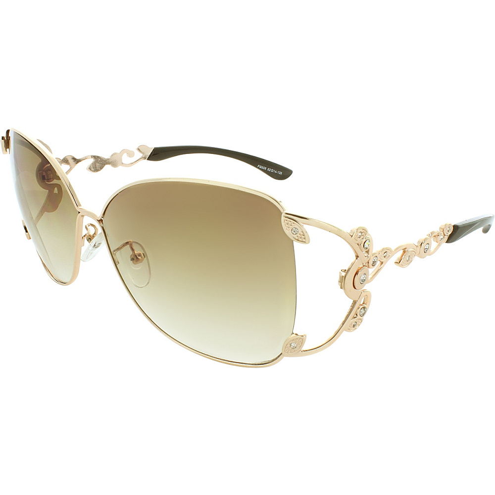 SW Global Polished Metal 59mm Square Sunglasses Gold - SW Global Eyewear - Fashion Accessories, Eyewear
