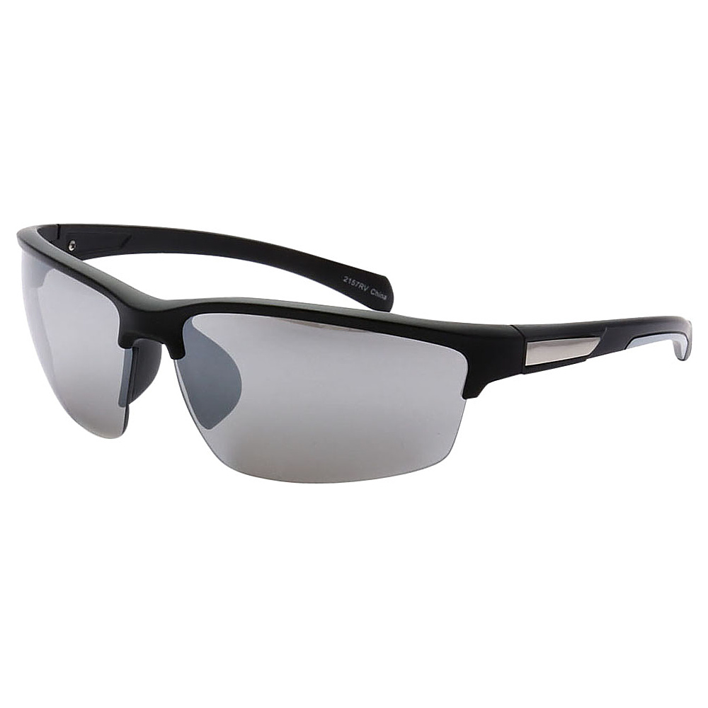 SW Global Half Framed Outdoors Sports UV400 Sunglasses Black White Silver - SW Global Eyewear - Fashion Accessories, Eyewear