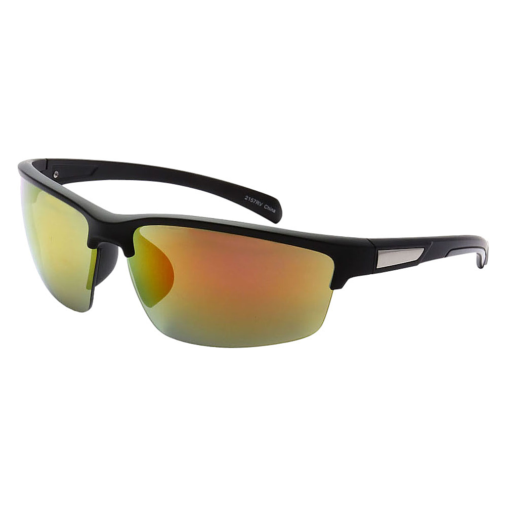 SW Global Half Framed Outdoors Sports UV400 Sunglasses Black White Yellow Orange - SW Global Eyewear - Fashion Accessories, Eyewear