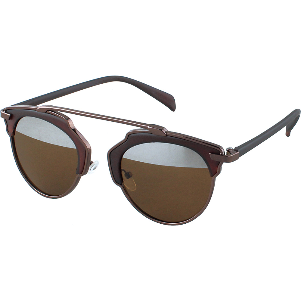SW Global Womens Urban Street Fashion Uni brow Top Bar Sunglasses Brown - SW Global Eyewear - Fashion Accessories, Eyewear