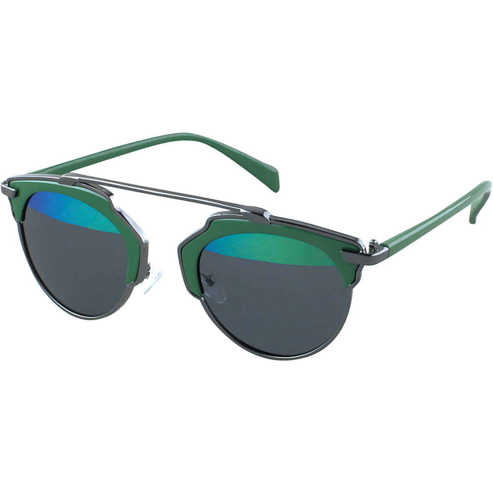 SW Global Womens Urban Street Fashion Uni brow Top Bar Sunglasses Green - SW Global Eyewear - Fashion Accessories, Eyewear