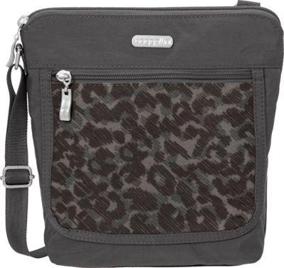 baggallini Pocket Medium Crossbody Charcoal Cheetah - baggallini Fabric Handbags