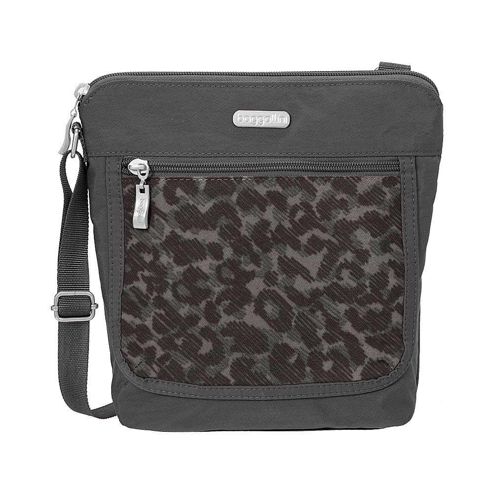 baggallini Pocket Medium Crossbody Charcoal Cheetah - baggallini Fabric Handbags - Handbags, Fabric Handbags