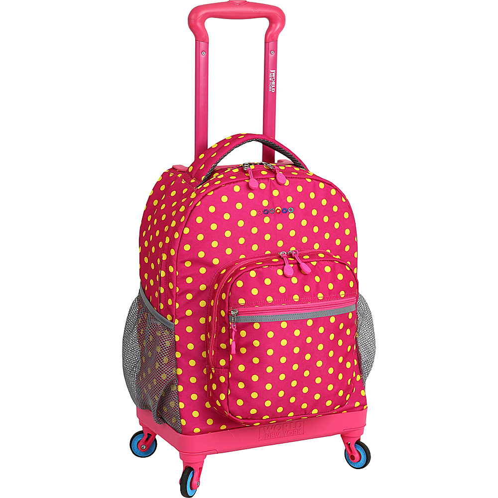 J World New York Sunslider Spinner Backpack Pink Buttons - J World New York Wheeled Backpacks - Backpacks, Wheeled Backpacks