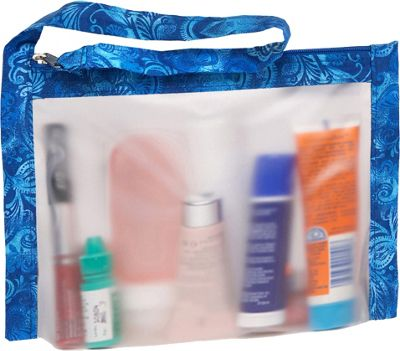 Flanabags AirQuart TSA-Compliant Clear Carry-on Quart Size Toiletry Bag Batik Blue - Flanabags Toiletry Kits