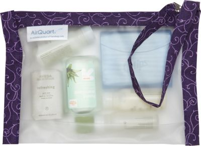 Flanabags AirQuart TSA-Compliant Clear Carry-on Quart Size Toiletry Bag Purple Scroll - Flanabags Toiletry Kits