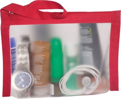 Flanabags AirQuart TSA-Compliant Clear Carry-on Quart Size Toiletry Bag Red Nylon - Flanabags Toiletry Kits