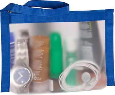 Flanabags AirQuart TSA-Compliant Clear Carry-on Quart Size Toiletry Bag Blue Nylon - Flanabags Toiletry Kits