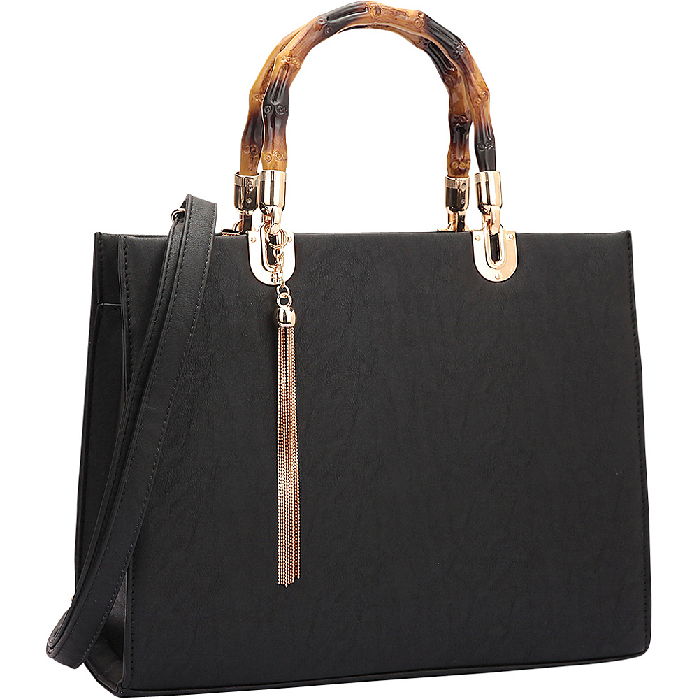 Dasein Bamboo Handle Smooth Leather Medium Satchel Black - Dasein Manmade Handbags - Handbags, Manmade Handbags