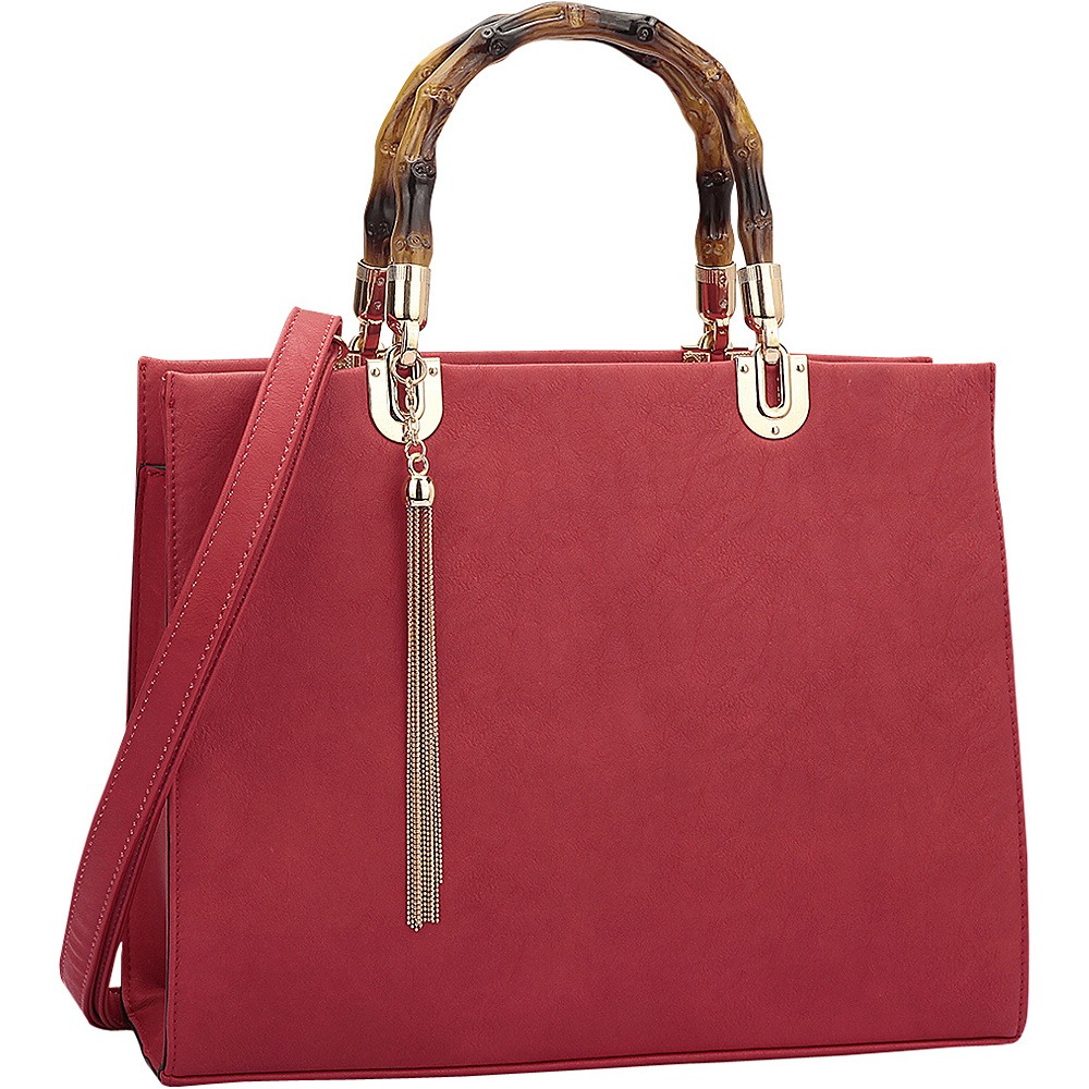 Dasein Bamboo Handle Smooth Leather Medium Satchel Red - Dasein Manmade Handbags - Handbags, Manmade Handbags