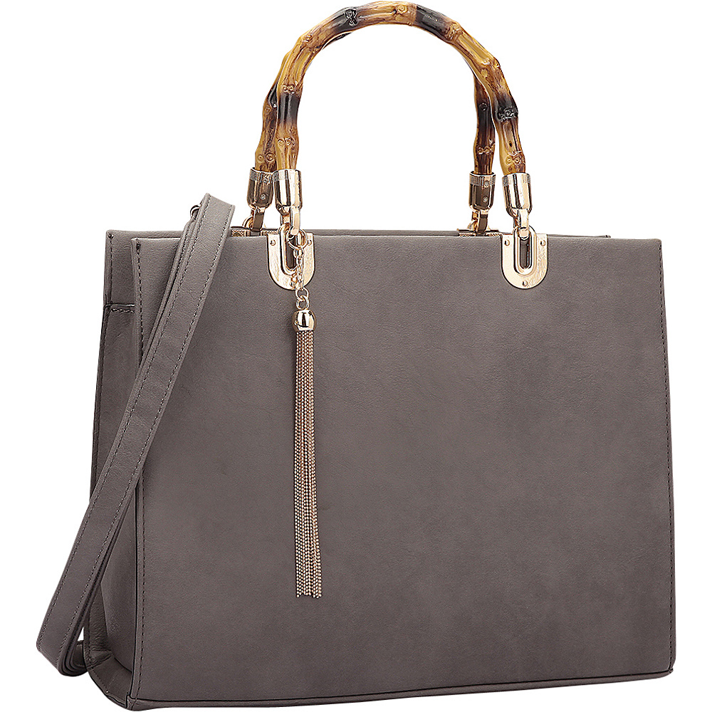 Dasein Bamboo Handle Smooth Leather Medium Satchel Grey - Dasein Manmade Handbags - Handbags, Manmade Handbags