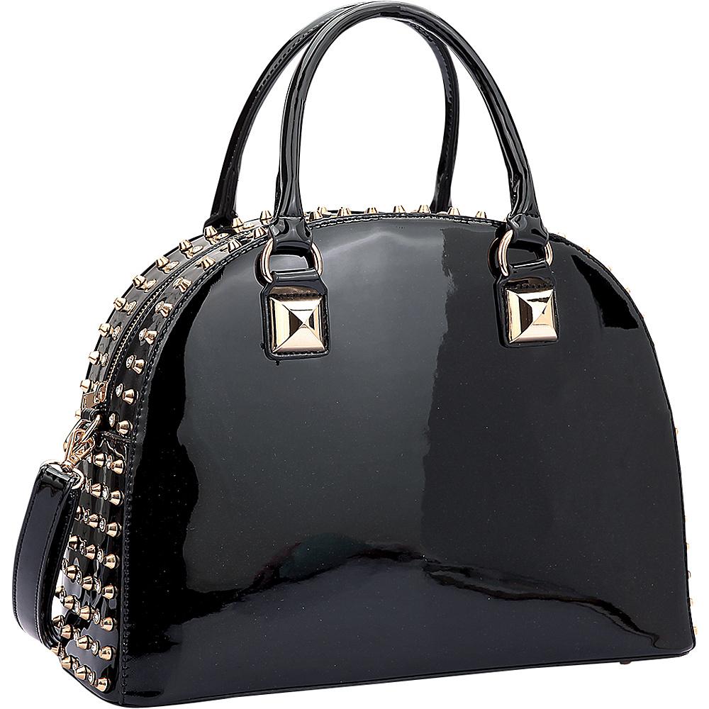 Dasein Rhinestone Studded Dome Zip Around Flat Bottom Shoulder Bag Black - Dasein Manmade Handbags - Handbags, Manmade Handbags